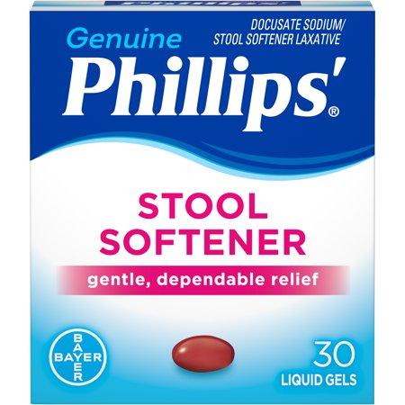 Sodium Capsules Stool Softener Laxative (Phillips' Stool Softener Laxative Liquid Gels, 30)