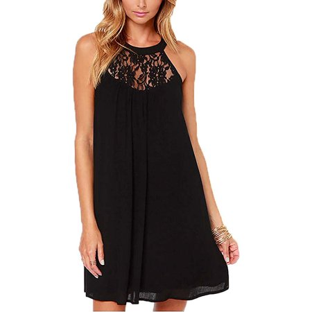 Women's Sleeveless Lace Patchwork Loose Casual Mini Chiffon Dress Patchwork Chiffon Dress