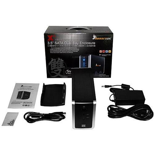 "Hornettek HD-3210-U2S-1X X2JBOO 3.5"" Dual Bay Hard Drive Enclosure, SATA to USB 2.0"