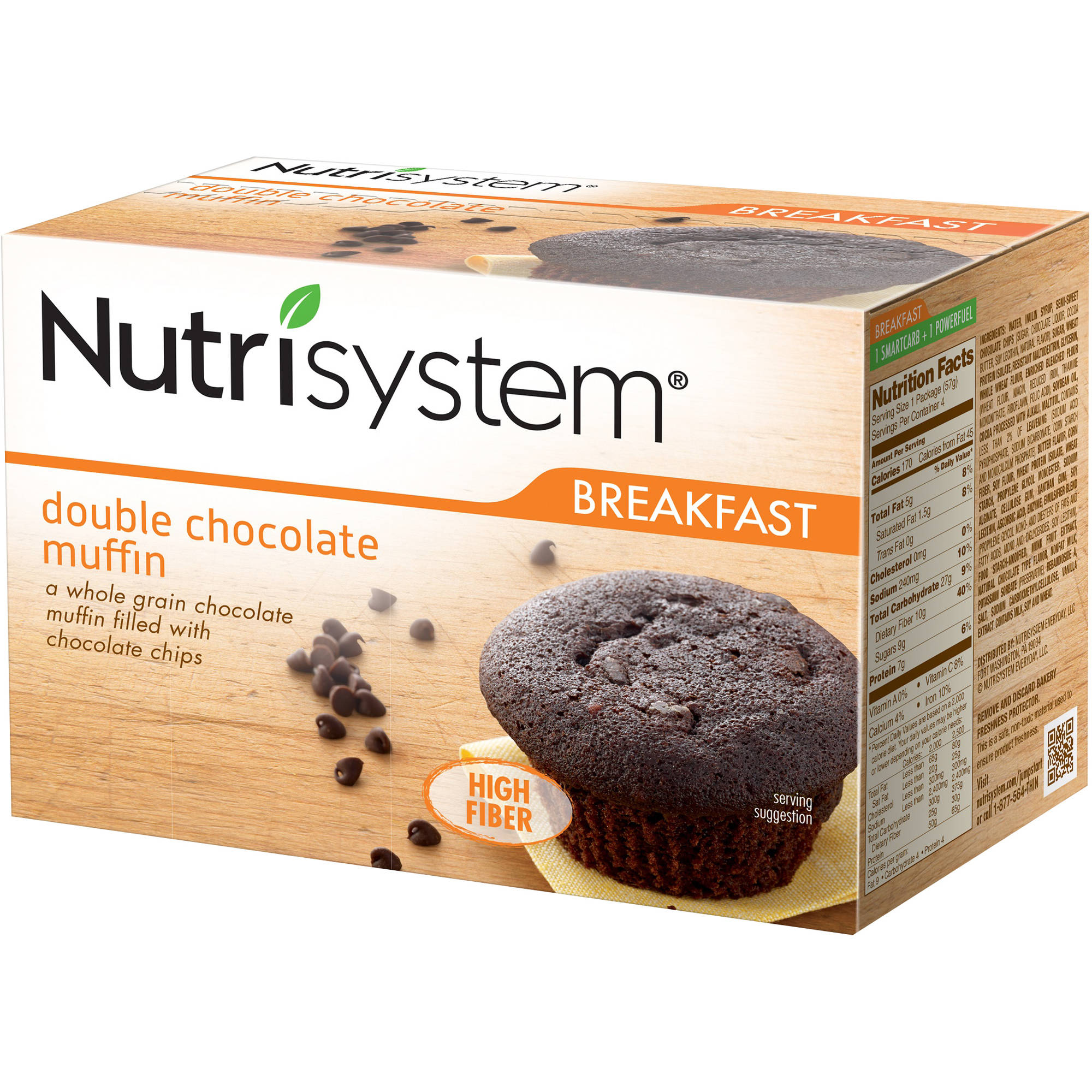 Nutrisystem Double Chocolate Muffins, 2 oz, 4 count, (Pack or 4)