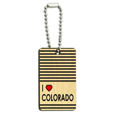 Colorado Heart - I Love Heart Colorado Wood Rectangle Key Chain