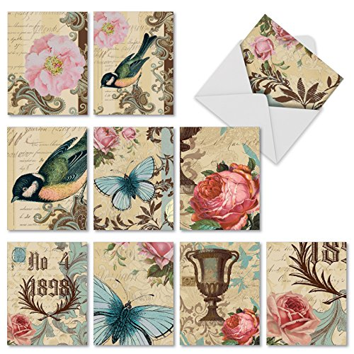 'M3972 VICTORIAN GARDEN' 10 Assorted All Occasions Greeting Cards With Garden Imagery Inspired By Victorian Decorative Arts with Envelopes by The Best Card Company
