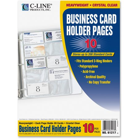 C-Line Business Card Binder Pages, Holds 20 Cards, 8 1/8 x 11 1/4, Clear, 10/Pack Clear Business Card Window