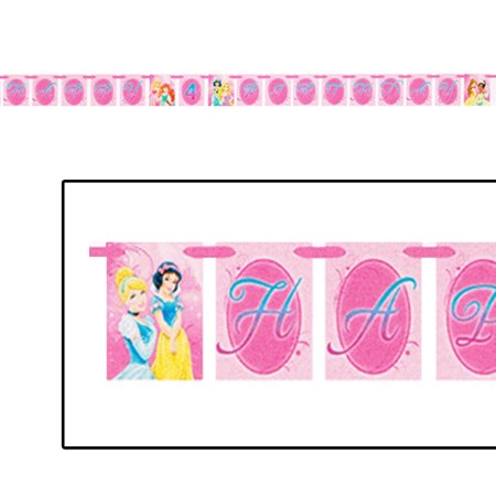 Disney Princess 'Sparkle and Shine' Happy Birthday Banner (1ct) - Princess Birthday Banner