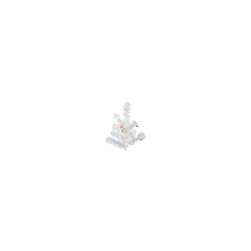 Vickerman Crystal White Upside Down 7.5' White Artificial Christmas Tree with 500 Multicolored Lights with Stand