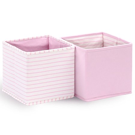 Baby Nursery Collapsible Storage Totes / Bins 2-Pack in Pink by The Peanut Shell