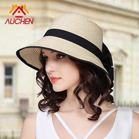 Floppy Sun Hats for Women--Wide Brim Straw Hat, Women Beach Hats UV Protection, Roll Up Summer Sun Cap--Best Elegant Hats for