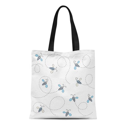 POGLIP Canvas Tote Bag Blue Line Cute Flying Bees Buzz Pattern Doodle Butterfly Durable Reusable Shopping Shoulder Grocery Bag - image 1 of 1