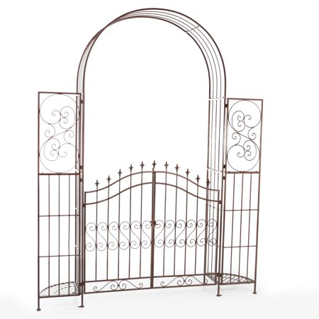 Belham Living Gated Hodgson Garden Metal Arbor with Planter Stands Traditional Garden Arbor