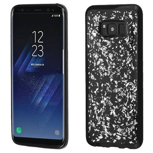 Samsung Galaxy S8 Case - Wydan Shock Absorbant Slim Krystal Series Shiny Flakes Skin Cover Black - Silver Flakes