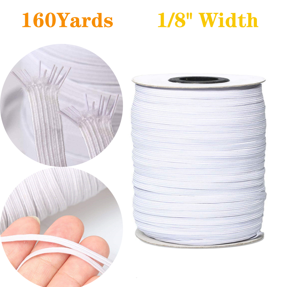 200 Yards Elastic Band for DIY Mask,3mm White Elastic String Cord Elastic Rope Heavy Stretch High Elasticity Knit Strap Trim Spandex Strings for Making DIY Sewing Crafts