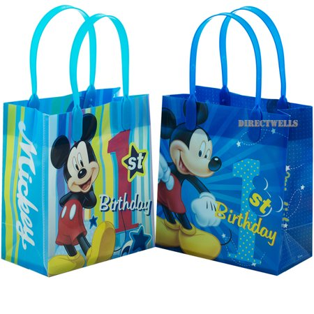 Mickey First Birthday (Mickey Mouse 1st Birthday 12 Authentic Licensed Reusable Small Goodie Bags)