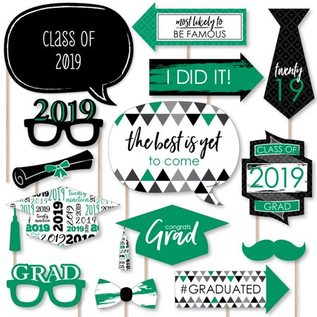 Green Grad - Best is Yet to Come - Green 2019 Graduation Party Photo Booth Props Kit - 20