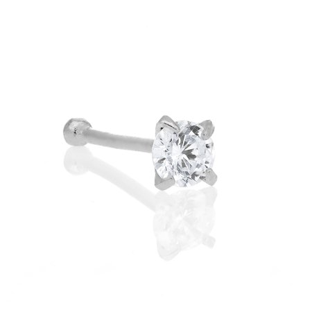 14K Solid White Gold Nose Ring Bone CZ Prong Ring 2mm 20 Gauge (Bone Flowers Nose Bone)