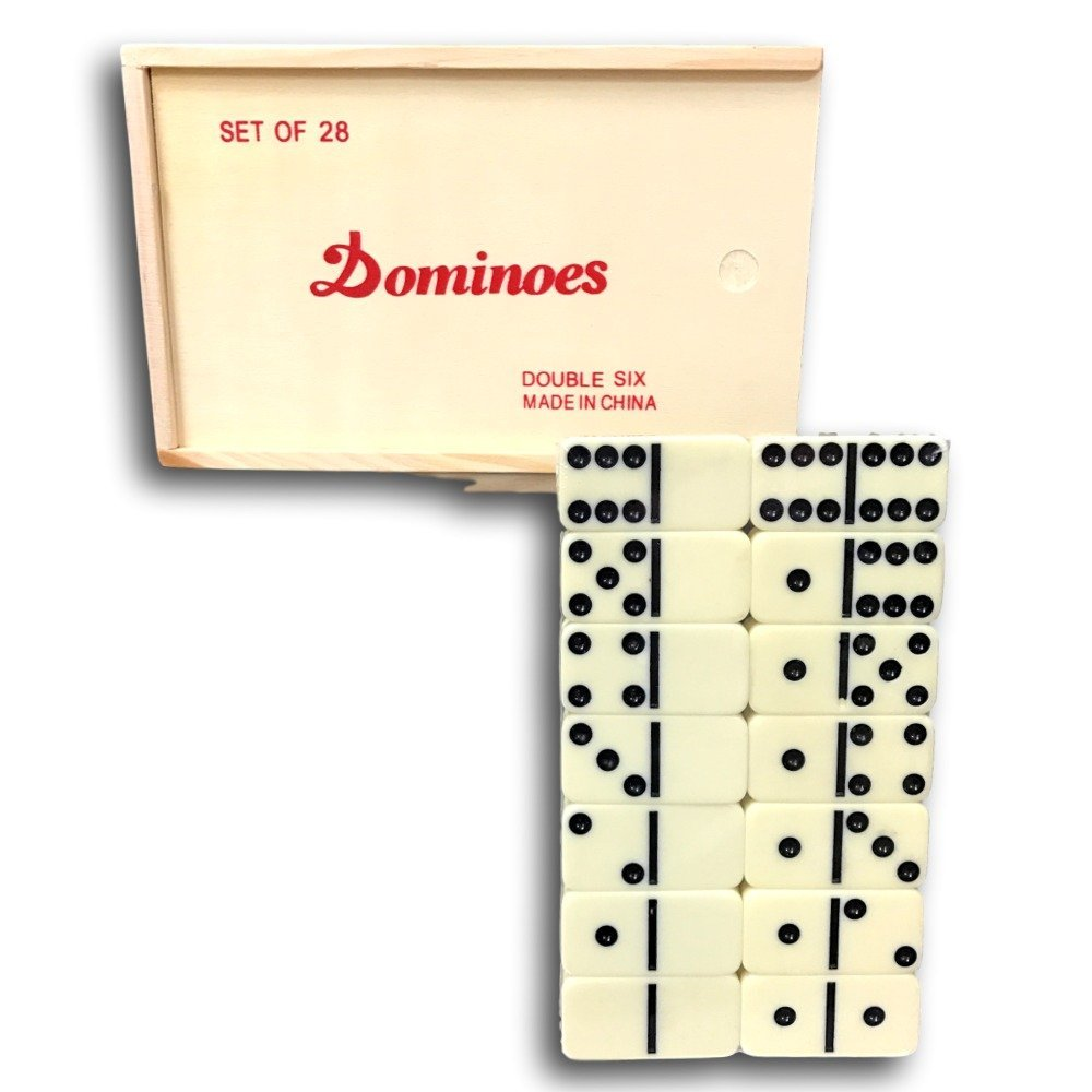 4 NEW DOMINO SETS DOUBLE SIX DOMINOES 28 PIECES PER SET WITH WOOD BOX