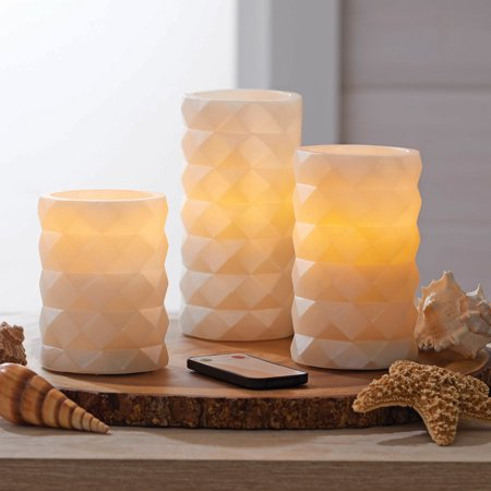 Better Homes & Gardens 3 Pack Flameless LED Pillar Candles, White Faceted