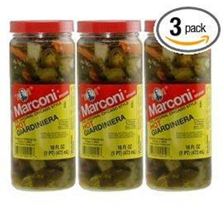 Marconi - The Original Chicago Style Hot Giardiniera - 16 oz (Pack of -