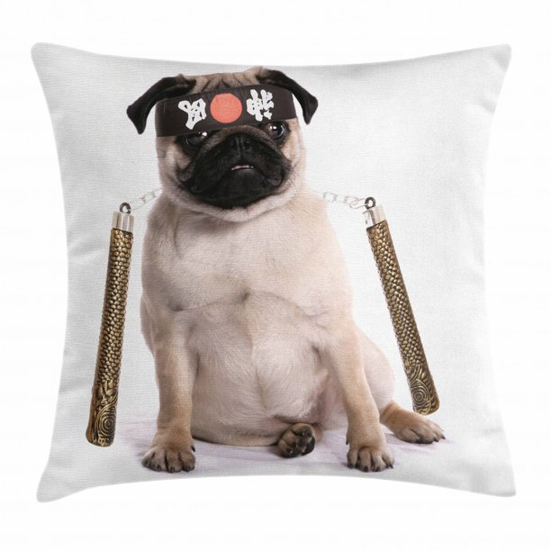 Pug Throw Pillow Cushion Cover Ninja Puppy With Nunchuk Karate Dog Eastern Warrior Inspired Costume Pug Image Decorative Square Accent Pillow Case 20 X 20 Inches Cream Black Gold By Ambesonne