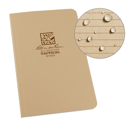 "- Rite in the Rain Weatherproof Leader Book, 4.625"" x 7"", Tactical Tan Soft Cover, Universal Pattern with Army Reference Material (No. 980T)"