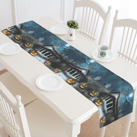 MYPOP Halloween Scary Pumpkin Table Runner Home Decor 14x72 Inch, Dark Rainy Night Old House Table Cloth Runner for Wedding Party Banquet Decoration