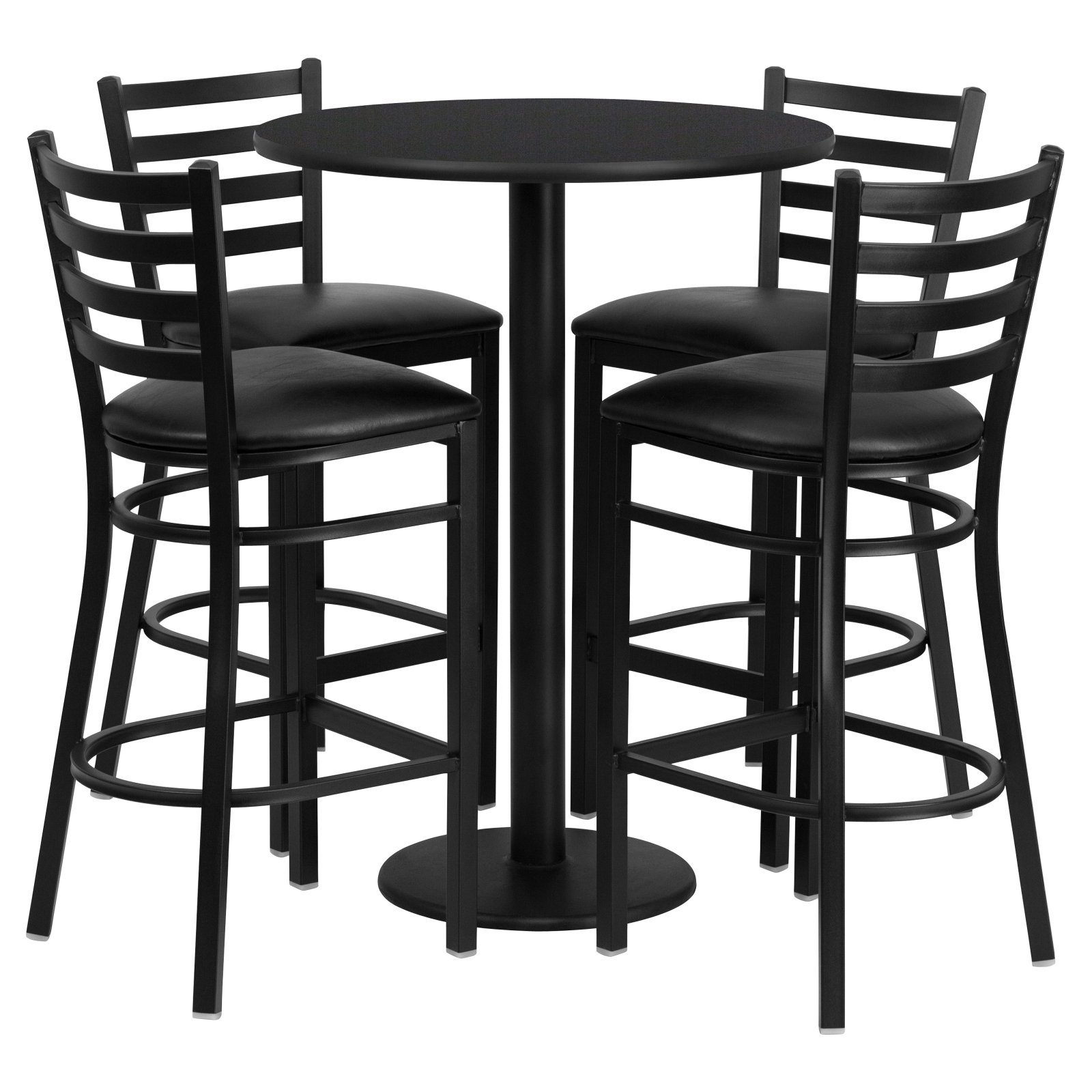 Flash Furniture 30'' Round Black Laminate Table Set with 4 Ladder Back Metal Barstools, Black Vinyl Seat