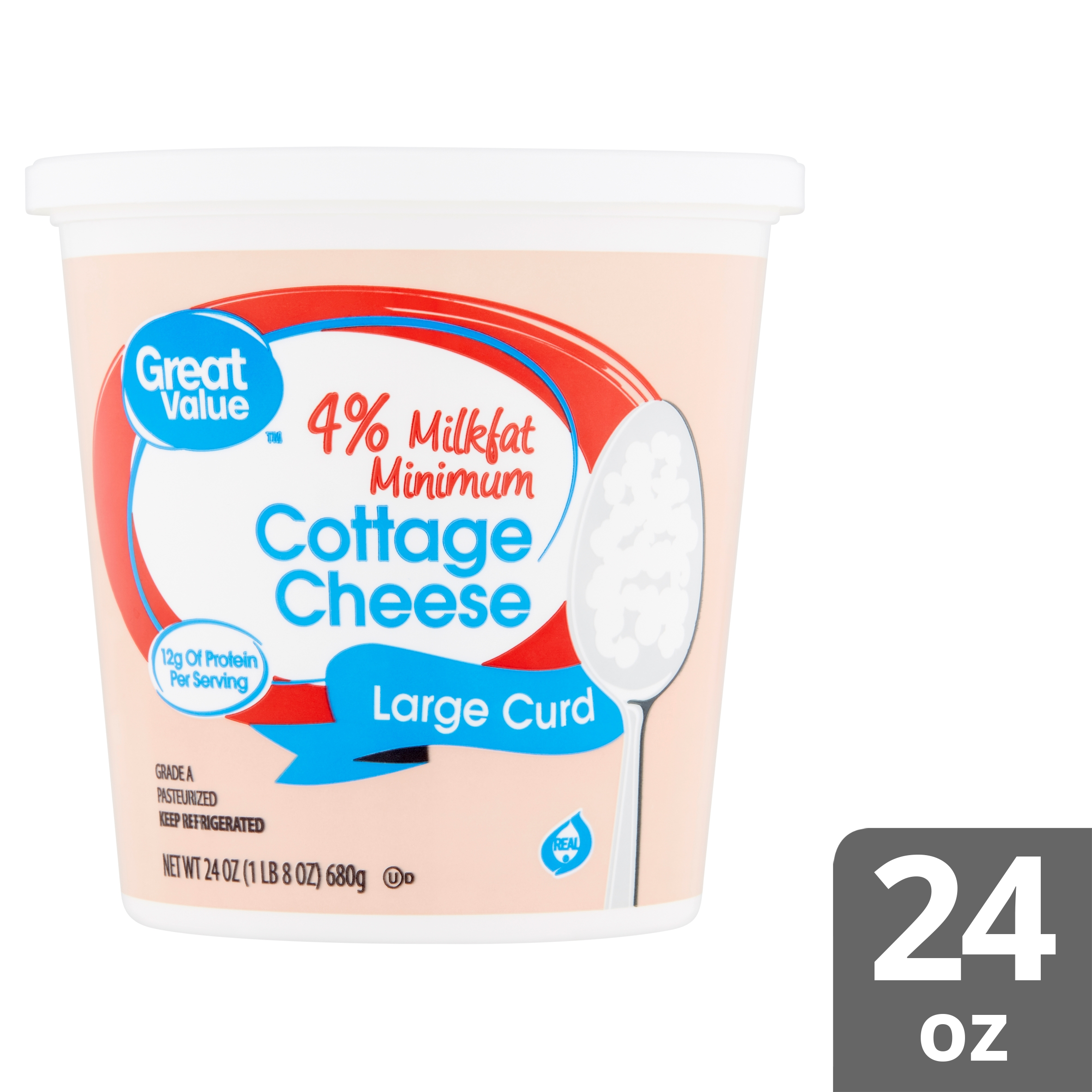 Groovy Great Value 4 Milkfat Minimum Large Curd Cottage Cheese 24 Oz Home Remodeling Inspirations Cosmcuboardxyz