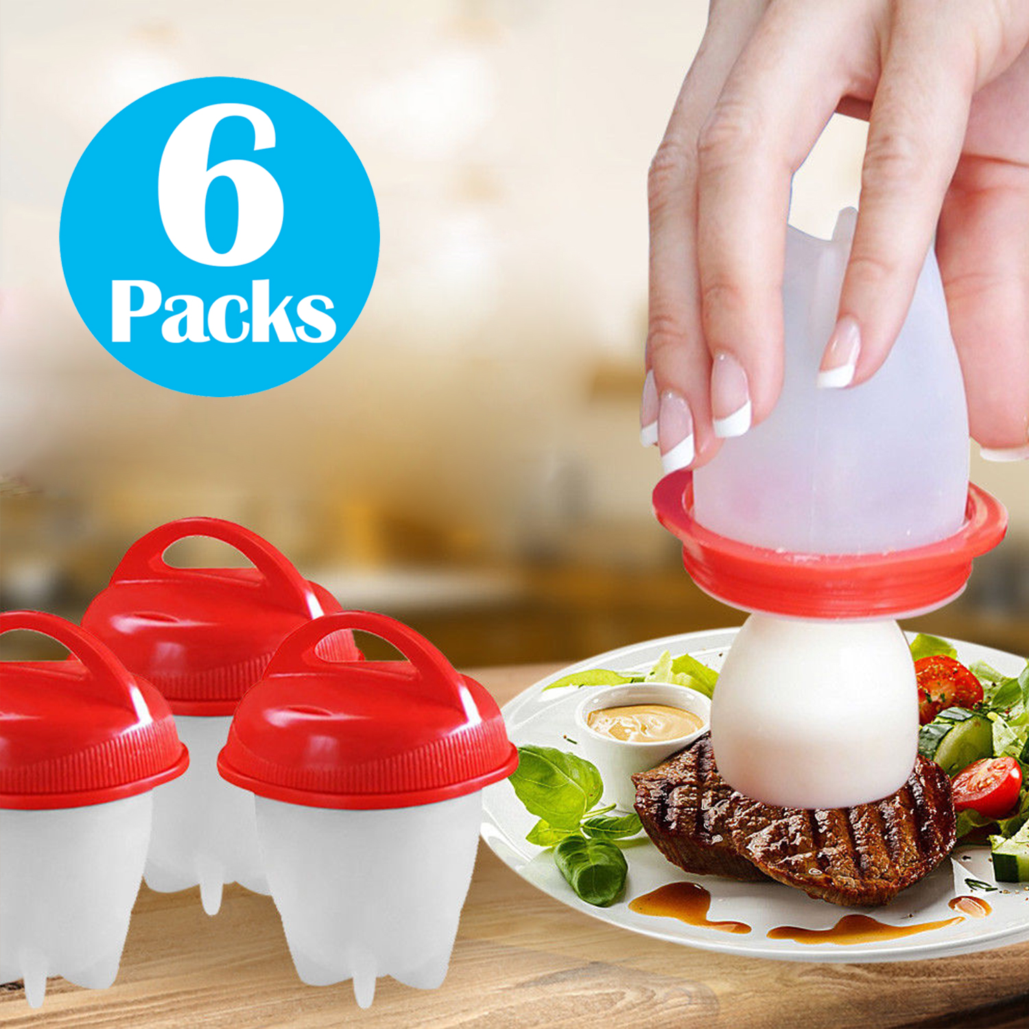 Egglettes Pack of 6 Egg Divider Without Shell Silicone Hard Egg Boiler