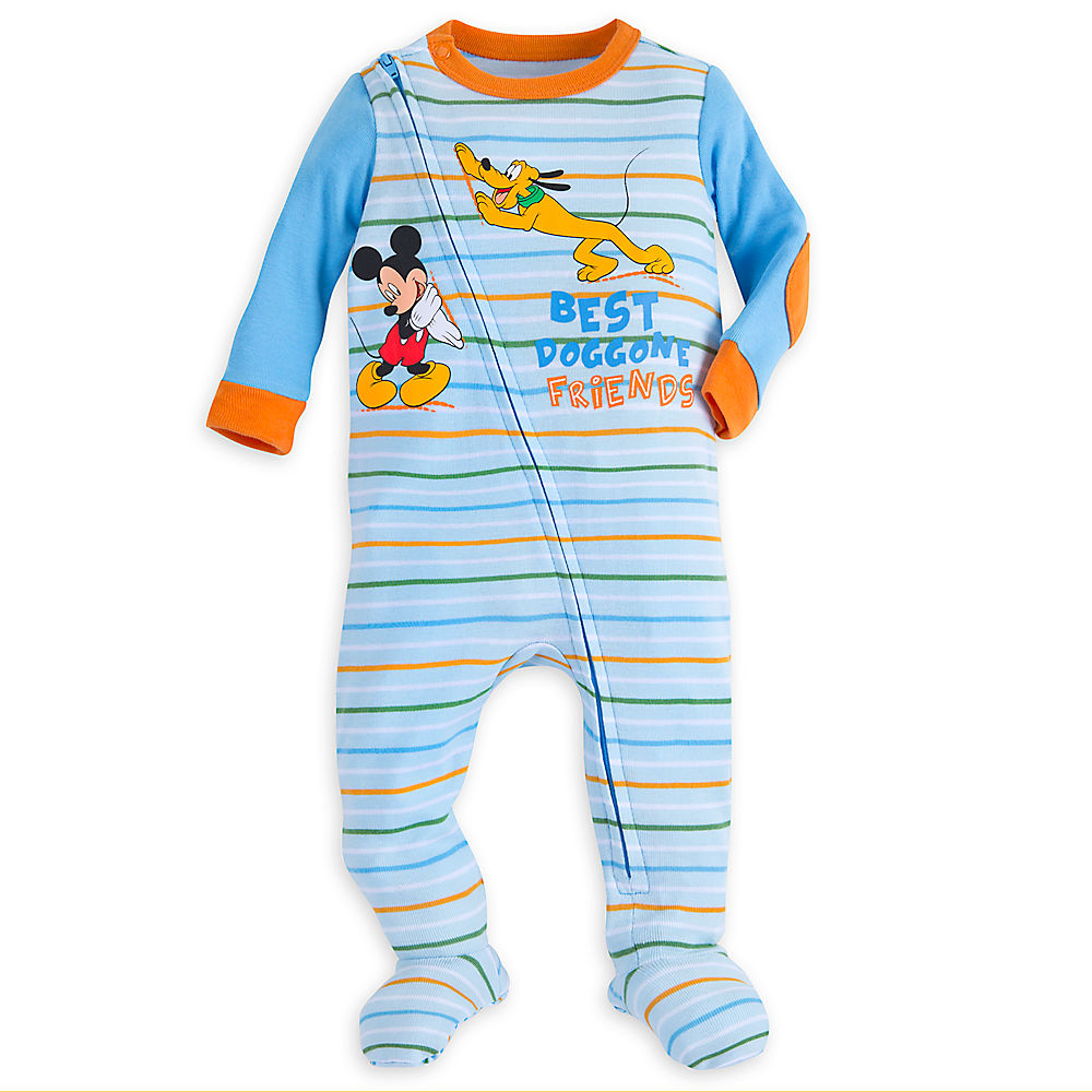 Disney Store Mickey Mouse and Pluto Long Sleeves Stretchie Sleeper for Baby Boys