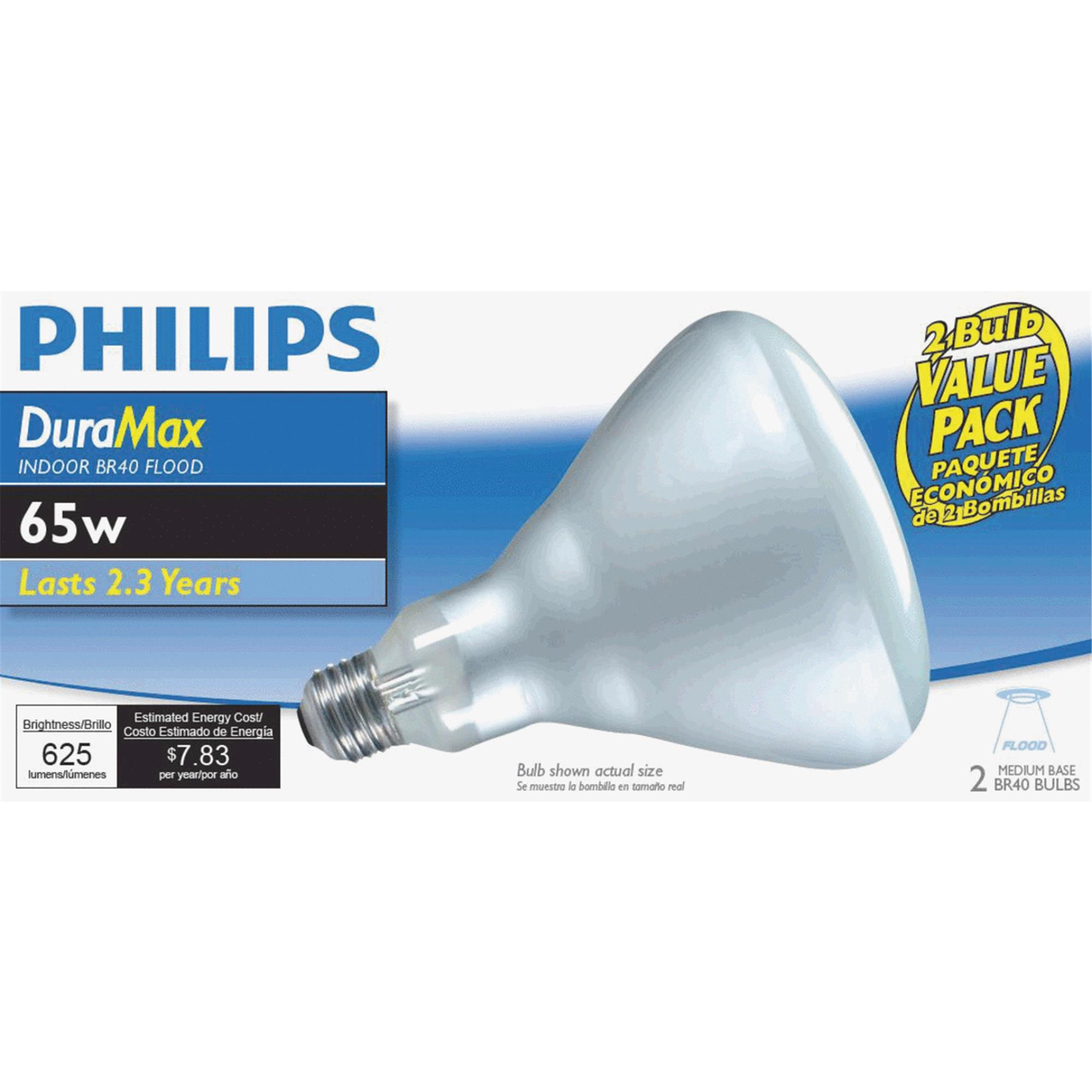 Philips Duramax Incandescent Floodlight Light Bulb, 65W, 2-count