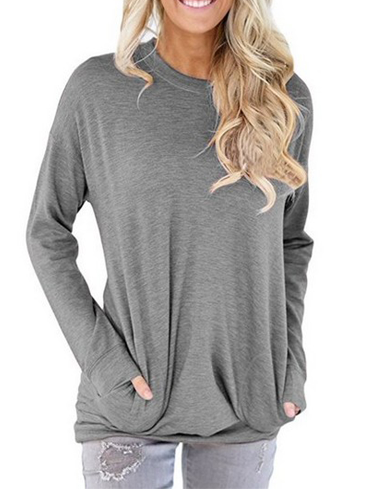 Eoeth Women Casual Long Section Sweatshirt Solid Loose Pullover Tops Blouse Shirts T-Shirts with Pockets Tracksuits