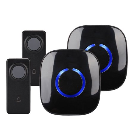 CROSSPOINT Expandable Wireless Doorbell Alert System, Multi-Unit Base Starter Kit includes 2 x Long Range Plug in Receivers and 2 x 100% Waterproof Transmitter Buttons, Model ECBase,