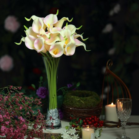 BalsaCircle 20 pcs 14-Inch tall Poly Foam Calla Lily Flowers with Single Stems Home Wedding Party Event Arrangements - Calla Lilies Centerpiece
