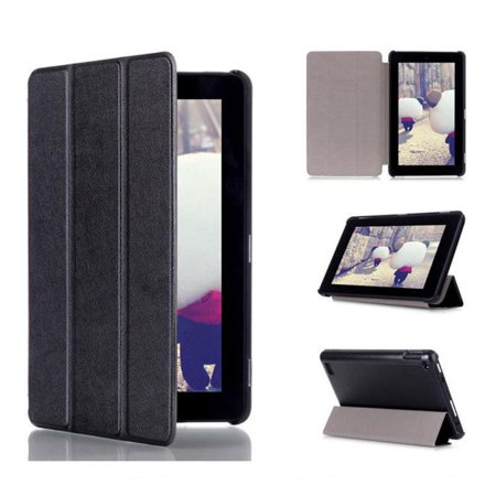 Tri-Fold Leather Stand Case Cover for Amazon Kindle Fire 7inch 2015 BK (All Free Games For Kindle Fire)