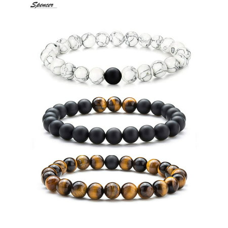 Spencer Tiger Eye Natural Stone Mala Beads Bracelet for Men Women Elastic Matte Agate Yoga Bracelet Bangle 8mm Gift for Mother's Day Valentine's Day