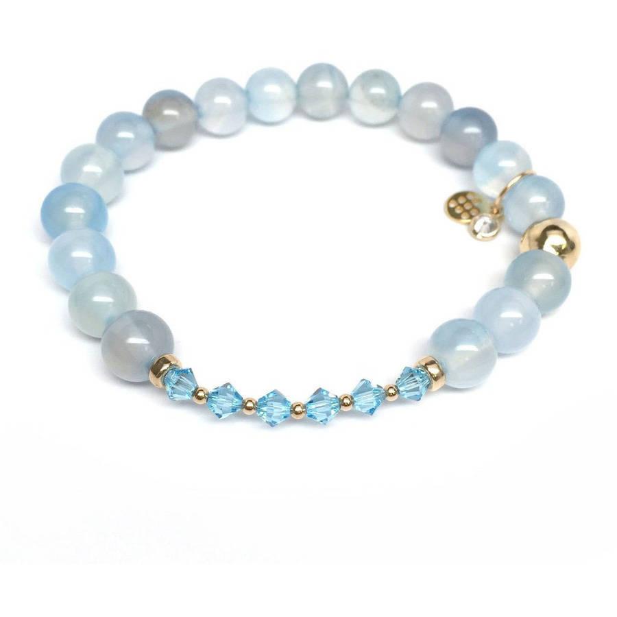 """Julieta Jewelry Aquamarine Swarovski Crystal """"Daisy"""" 14kt Gold over Sterling Silver Stretch Bracelet by Julieta Jewelry"""