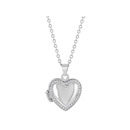 925 Sterling Silver Clear Cubic Zirconia Heart Photo Locket Girls Necklace 16""