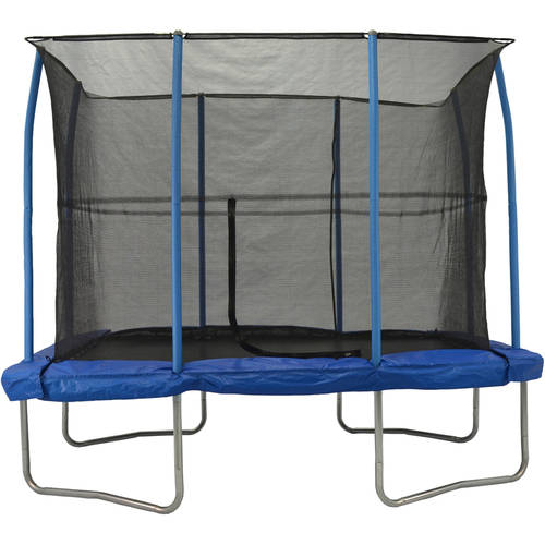 JumpKing 7 x 10-Foot Rectangular Trampoline, with Enclosure, Blue