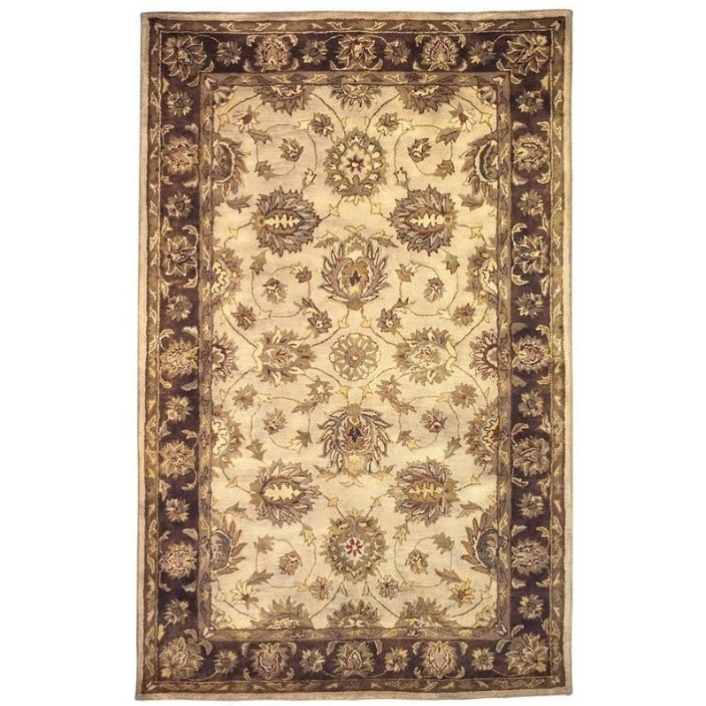 """Linon Rosedown 1'10"""" x 2'10"""" Hand Tufted Wool Rug in Pale Gold"""