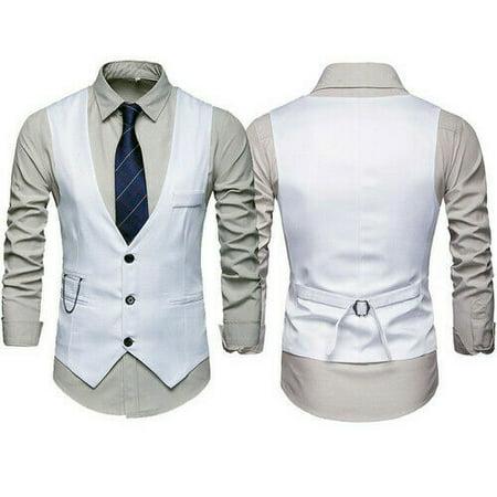 Men's Formal Casual Tuxedo Suit Dress Vest Waistcoat Chain Wedding Prom Vest -