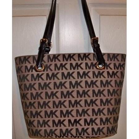 5bd60e09dee9 Michael Kors Jet Set Item Medium Tote MK Signature Jaquard Beige/Black