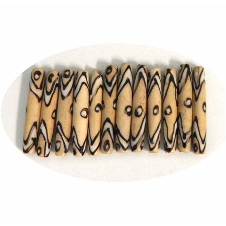 Hairpipe Bone, Loose Beads, Hand Carved Painted India 1-3/8 to 1-1/2 Inch 24 Pcs Hair Pipe