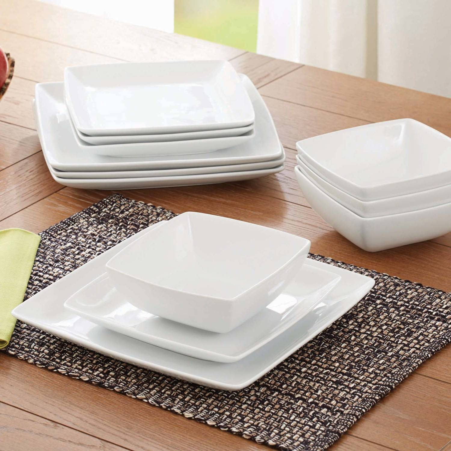 Better Homes and Gardens Coupe Square 12-Piece Dinnerware Set, White