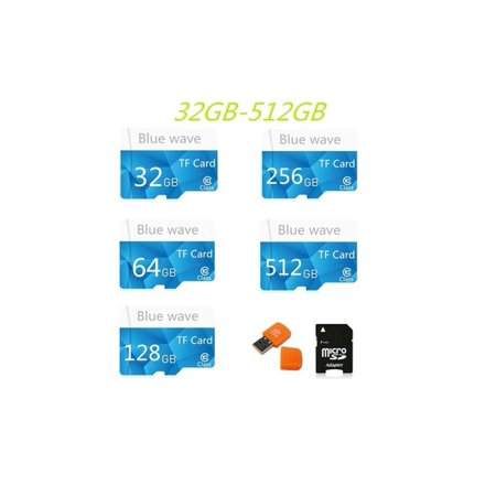 64GB-512GB High Speed Blue Wave MicroSD SD/TF Card Class10 Flash Memory + SD Card Reader + Adapter Reader 46ZDCP20489 - Walmart.com
