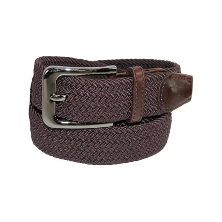 Men's Big & Tall Elastic Braided Stretch Belt with Silver Buckle Braided Square Buckle Belt