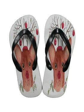 6b1ce12838e Product Image KuzmarK Flip Flop Thong Sandals Unisex - Red-Nose Reindeer  Chiahuahua Christmas Dog Art by
