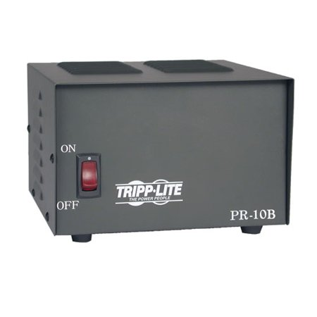 Tripp Lite PR10 AC Power Adapter General InformationPrecision regulated DC power supplies are ideal for commercial/land-mobile, ham and CB radios, test bench supplies, base stations, tape players and amplifiers. Designed for years of reliable service and superior performance, they efficiently convert 120 volts AC into 13.8 volts DC (+/-0.5V). The Trim Line Series of DC power supplies offers a low-profile design with a footprint that matches the most popular radios on the market, such as Motorola, Radius, GE Monogram Series and EF Johnson models. Power DescriptionInput Voltage:110 V ACInput Voltage Range:120 V ACFrequency:60 HzOutput Voltage:13.8 V DCPhysical CharacteristicsHeight:4.3 Width:5.5 Depth:9.5 Weight (Approximate):10.30 lbMiscellaneousPackage Contents: PR10 AC Power AdapterAdditional Information: Solid-State Integrated Circuit: Provides excellent voltage regulation to within ±0.5 V DC output voltage is maintained from 0 to 95% of full loadCrowbar Overvoltage Protection: Prevents overvoltage surges from damaging connected equipmentHigh Quality Filtering: Provides low-noise operation, excellent for sensitive communications receivers (.05 volts maximum ripple)Current-Limiting Electronic Foldback: Automatically limits current and voltage outputs incase of overloadHeavy-Duty Power Transformer: Provides complete line isolationLarge Heat Sinks and Vented Cabinet: Provides cool, continuous operation and long component lifeCompatibility:30 watt transmittersVHF/UHF ham Mount radiosCommercial radiosLand-mobile radiosLow power linear ampsWarrantyLimited Warranty:1 Year