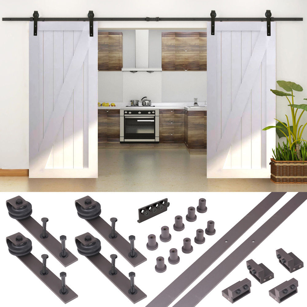 16FT Country Antique Dark Coffee Steel Sliding Barn Wood Door Hardware Track Set