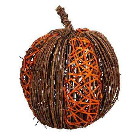 Decorative Pumpkin - The Holiday Aisle Lighted Vine Pumpkin Decorative Accent