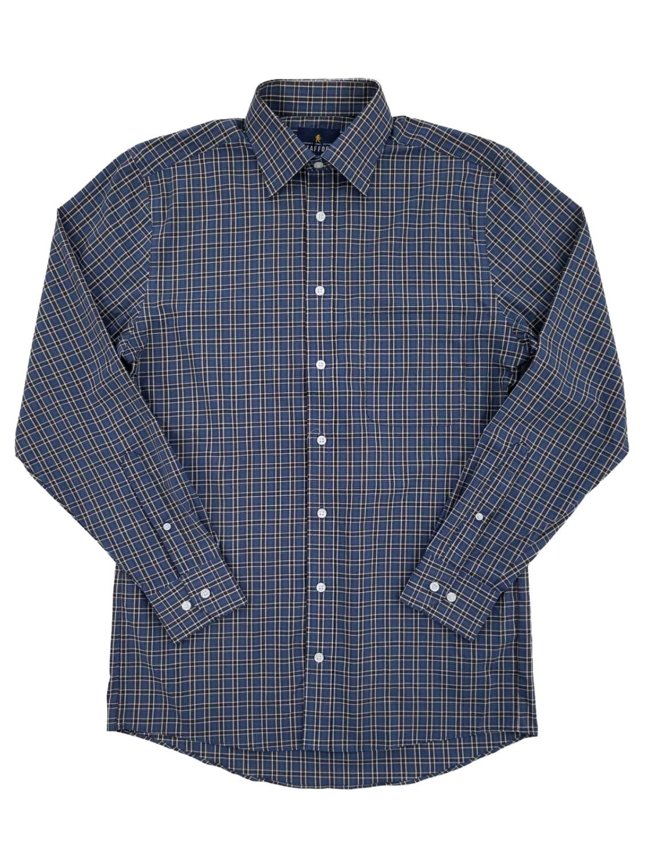 FirH Men Casual Cotton Plus-Size Stretchy Plaid Long Sleeve Button Shirt