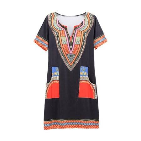 Fashionyard Summer Sexy African Print Sexy Short Sleeve Party Shirt Dresses Vintage Mini hippie Boho Women Casual Clothing V Neck Dress Pockets Dashiki Tribal Style Dress